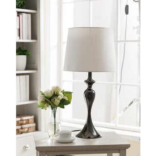 K and B Furniture Gun Metal and White Shade Table Lamp (Set of 2)