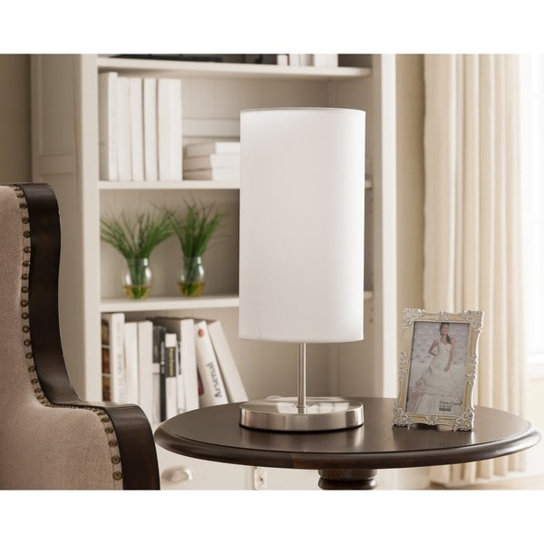 K and B Furniture Co. Inc. Brushed Nickel and White Table Lamps (Set of 2)