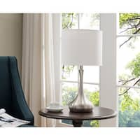 Set Of Two Table Lamps - Brushed Nickel; White