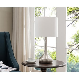 Set Of Two Table Lamps   Brushed Nickel; White