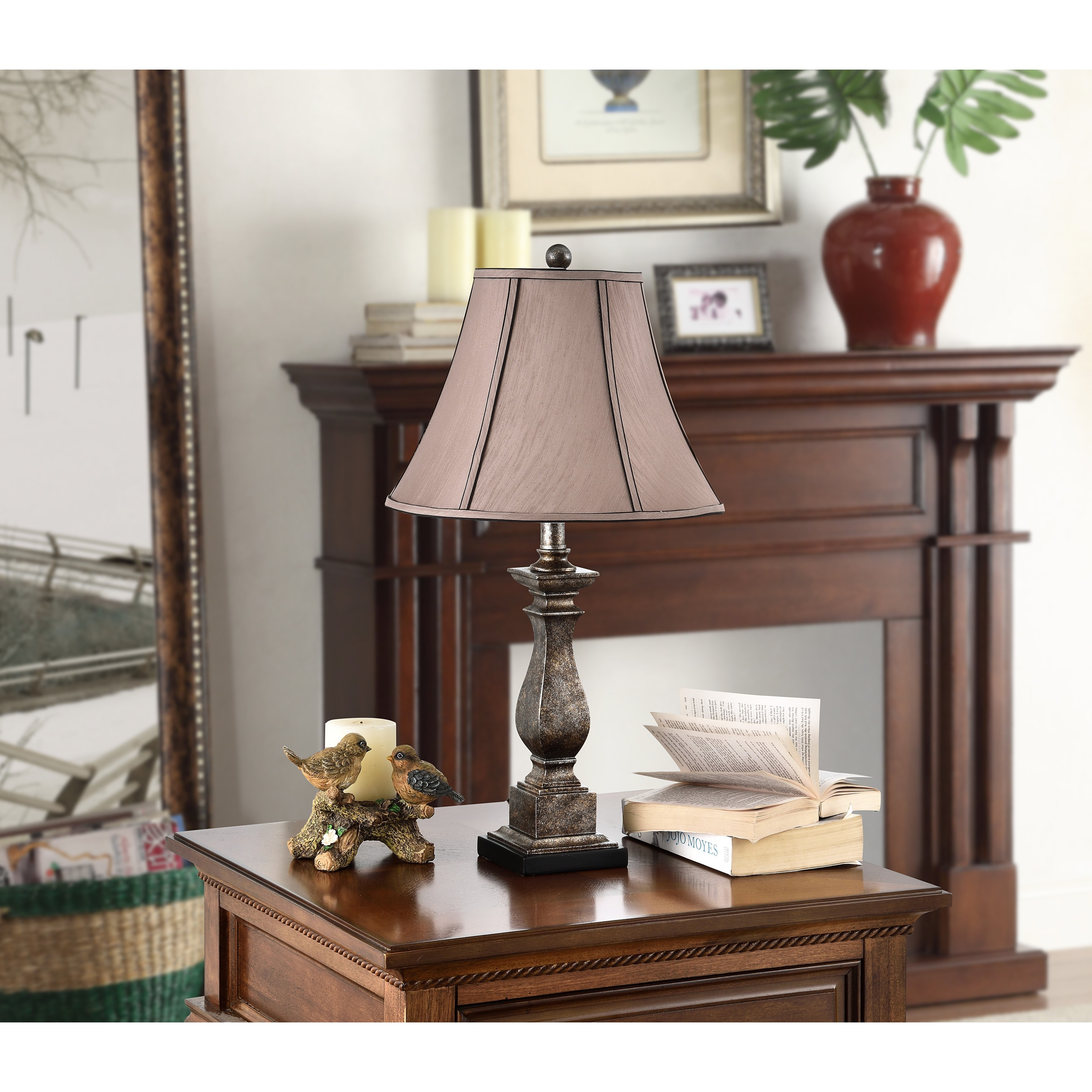 K And B Furniture Co Inc Antique Silver Brown Table Lamp Set Of 2