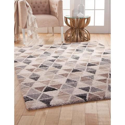 Shea Grey/Brown/Charcoal Geometric Olefin Shag Area Rug by Greyson Living
