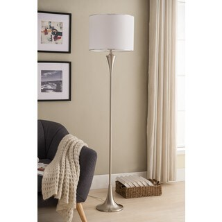 K and B Furniture Co. Inc. Brushed Nickel and White Floor Lamp