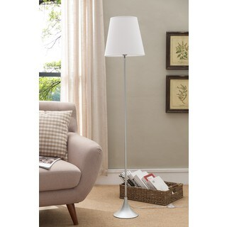 K and B Furniture Co Inc Silver Metal Body and White Fabric Shade Floor Lamp