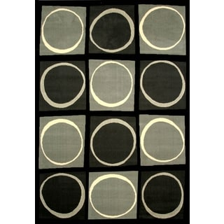 Chess Black/Grey/Ivory Area Rug by Greyson Living (7'9 x 10'6)