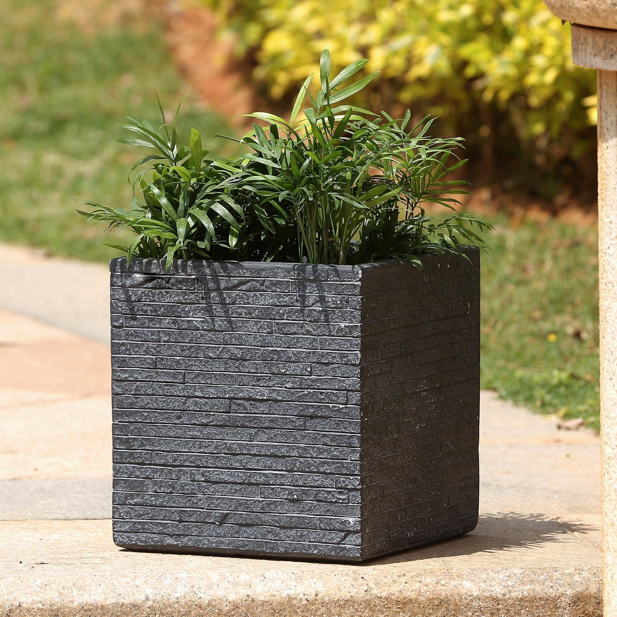 Stone Finish Square Planter On Sale Overstock 15004735