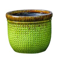 Weave Embossed Bright Green Planter