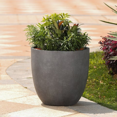 Grey Round Stone Finish Planter