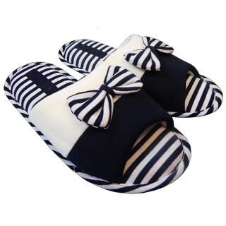 Vecceli Women's Striped Bow-tie Open-back Open-toe Slippers