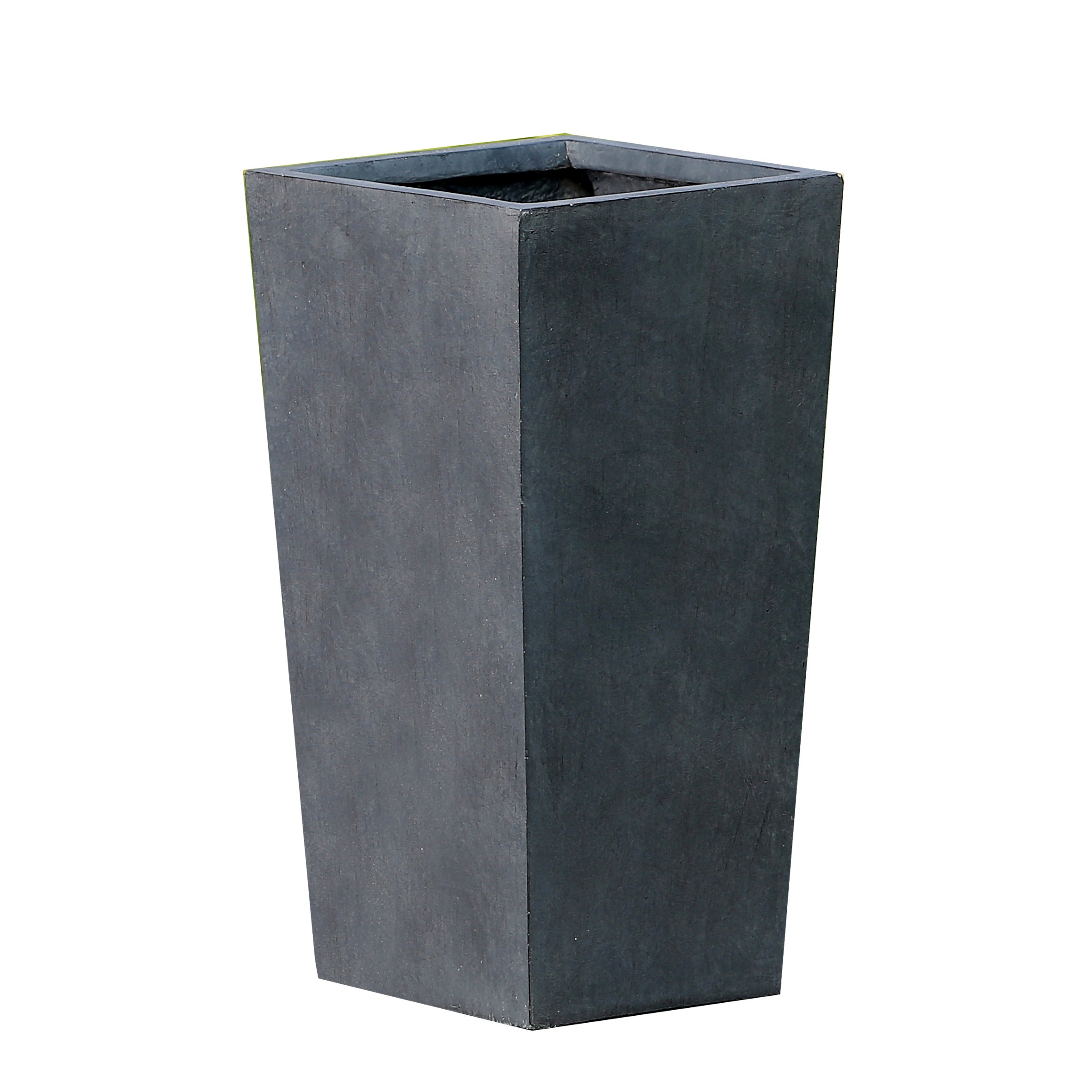 Stone Finish Flower Pot Planter Tall Narrow Modern Elegant Fiberstone Grey