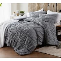BYB Alloy Grey Cotton Lace Textured Quilt Set