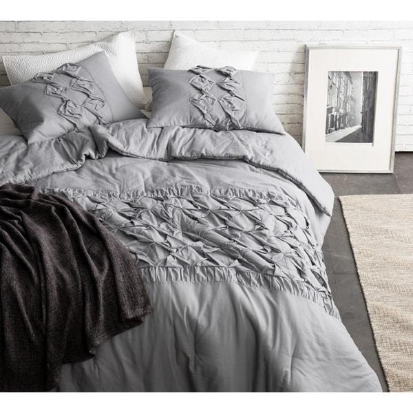 BYB Cadence Alloy Grey Textured 3 Piece Quilt Set
