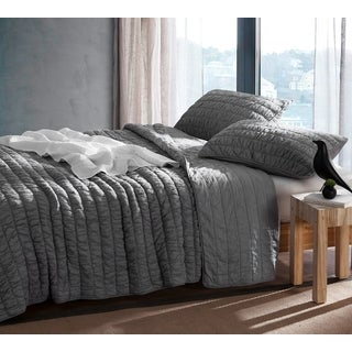 BYB Alloy Grey Cotton Pure Textured Quilt Set