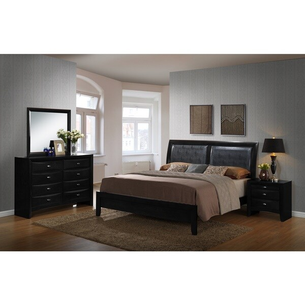 Blemerey Black Bonded Leather and Wood Bedroom Set, Includes Queen Bed, Dresser Mirror with Nightstand
