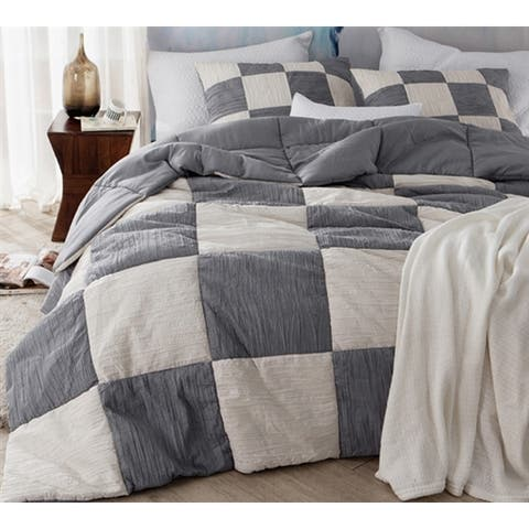 BYB Two-Tone Jet Stream/Alloy Blended Textured Quilt Set