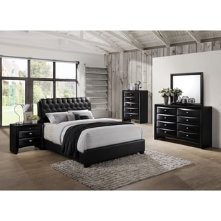 Blemerey 110 Black Bonded Leather Bed Group, Queen Bed, Dresser, Mirror, Night Stand, Chest