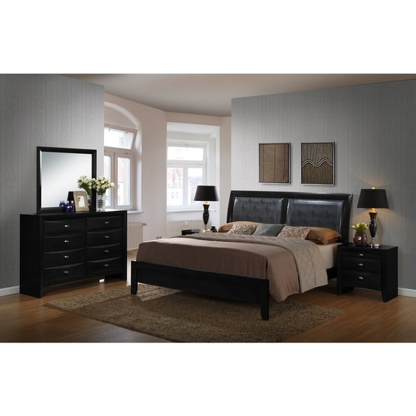 shop blemerey black bonded leather and wood bedroom set includes queen bed dresser mirror with