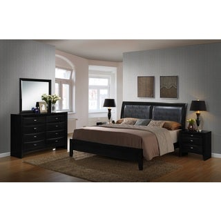 Blemerey Black Bonded Leather and Wood Bedroom Set, Includes Queen Bed, Dresser Mirror with 2 Nightstands