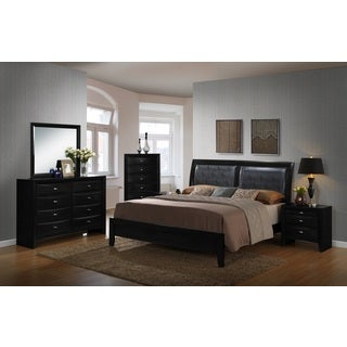 Blemerey Black Bonded Leather and Wood Bedroom Set, Includes Queen Bed, Dresser Mirror, 2 Nightstands with Chest