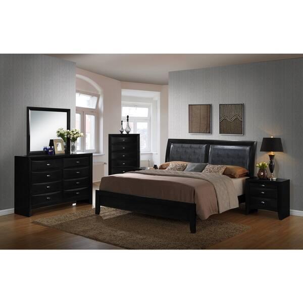 Shop Blemerey Black Bonded Leather and Wood Bedroom Set, Includes ...