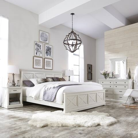 The Gray Barn Riverbone X-detail King Bed, Nightstand, and Chest, with Dresser and Mirror