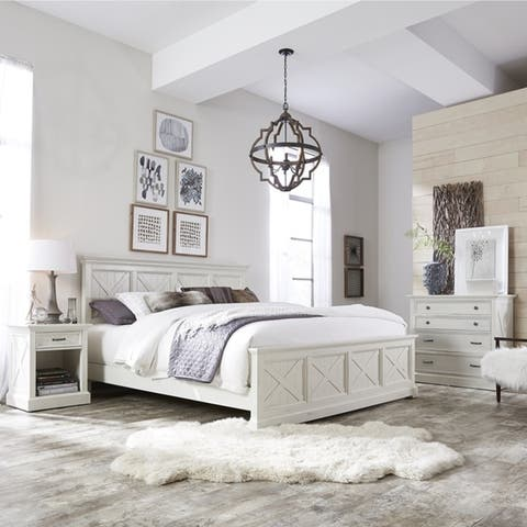 The Gray Barn Riverbone X-detail King Bed, Nightstand, and Chest