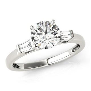 Transcendent Brilliance Tapered Three Stone Diamond Engagement Ring 14k Gold 1 1/10 TDW
