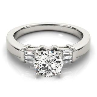 Transcendent Brilliance Three Stone Cathedral Diamond Engagement Ring 14k Gold 1 1/10 TDW