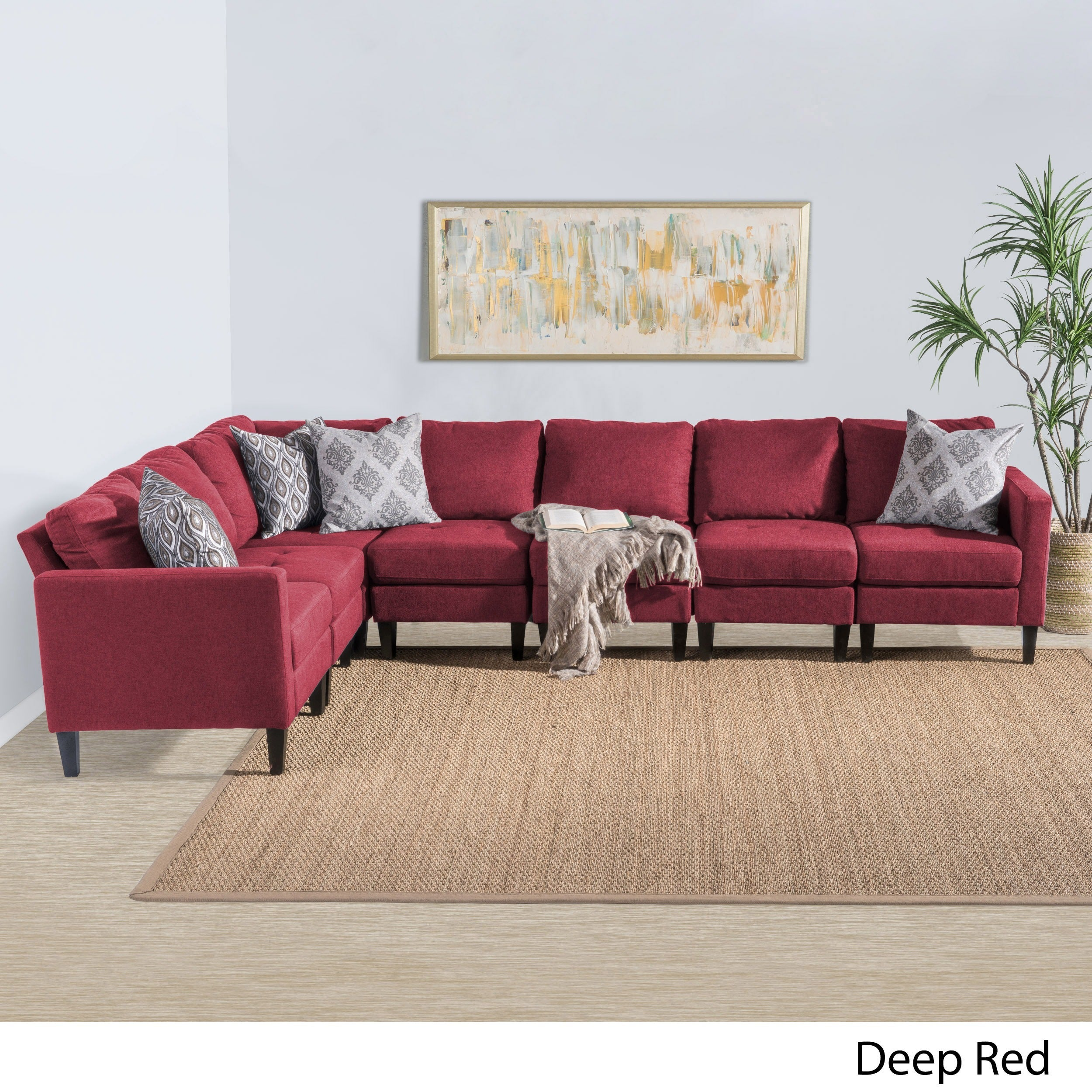 Zahra 7 Piece Fabric Sectional Sofa Set By Christopher Knight Home (Option:  Deep