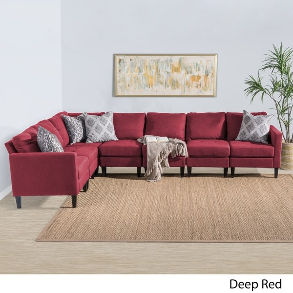 Superbe Zahra 7 Piece Fabric Sectional Sofa Set By Christopher Knight Home