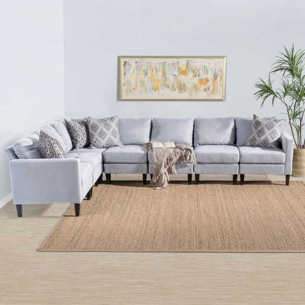 Shop Zahra 7 Piece Fabric Sectional Sofa Set By Christopher Knight