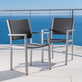 Cape Coral Outdoor Rectangle Aluminum Dining Chair (Set of 2) by Christopher Knight Home