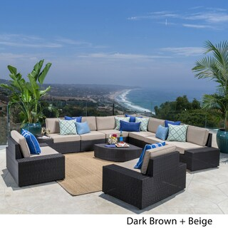 Santa Cruz Outdoor 10-piece Wicker Sectional Sofa Set with Cushions by Christopher Knight Home (2 options available)