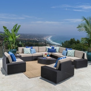 Santa Cruz Outdoor 10-piece Wicker Sectional Sofa Set with Cushions by Christopher Knight Home