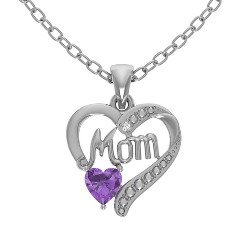 Orchid Jewelry Sterling Silver Diamond and Heart Shaped A...