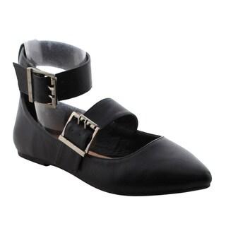 Betani Women's Faux Leather Comfort Ankle Strap Almond Toe Ballet Flats