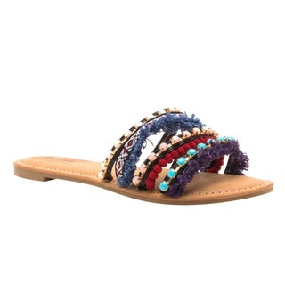 Qupid Women's FI61 Bohemia-style Pom Pom Strappy Slide Sandals