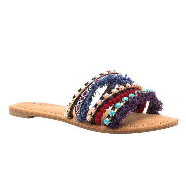 a3dd043001462 Shop Qupid Women s FI61 Bohemia-style Pom Pom Strappy Slide Sandals ...