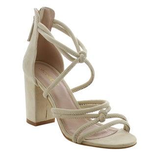 Jacobies Women's Beige Faux Suede Chunky Heel Open Toe Sandals