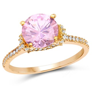 Liliana Bella Gold Plated Pink Cubic Zirconia Solitaire Ring with White Cubic Zirconia
