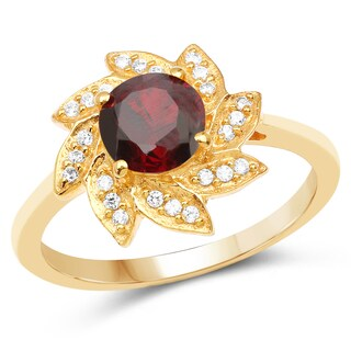 Liliana Bella Gold Plated Red Cubic Zirconia Floral Solitaire Ring
