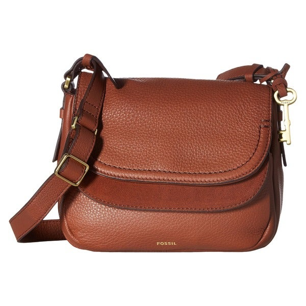 4fe28f25f7 Shop Fossil Peyton Brown Leather Double Flap Crossbody Handbag ...