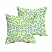 Oliver Lime Green/ Aqua Indoor/ Outdoor Square Knife Edge Pillow Set