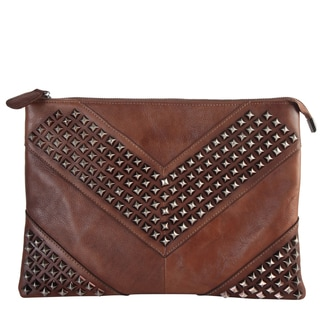 Diophy Brown Leather Studded Design Clutch
