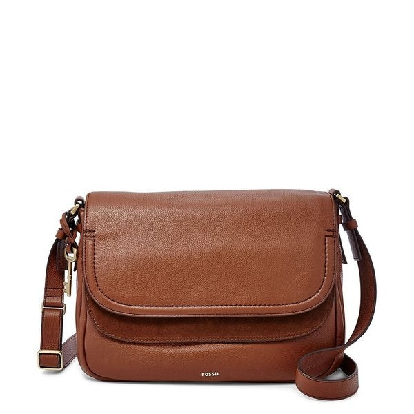 7b454c9d14 Shop Fossil Peyton Brown Leather Large Double-flap Crossbody Handbag ...