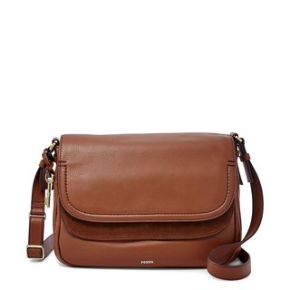 Fossil Peyton Brown Leather Large Double-flap Crossbody Handbag
