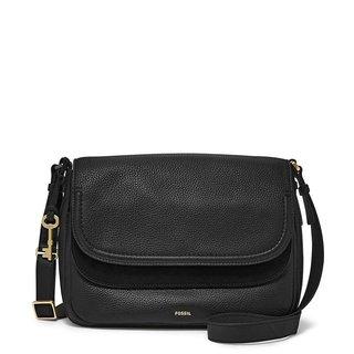 Fossil Peyton Black Large Double-flap Crossbody Handbag
