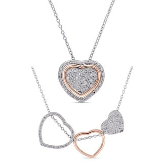 Miadora Two-Tone Sterling Silver 1/5ct TDW Interchangeable Diamond Heart Necklace with Message Gift Box for Mom