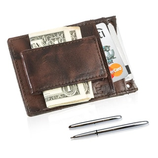 Suvelle Men's Leather Magnetic Money Clip Wallet Set and Fisher Space Pen Gift Box
