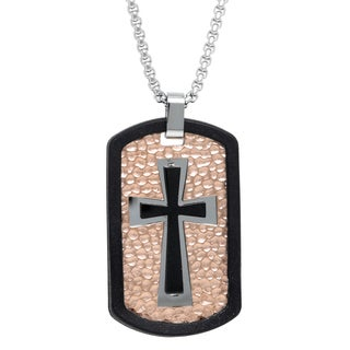 Stainless Steel Multitone Ion-Plated Hammered Cross Tag Pendant